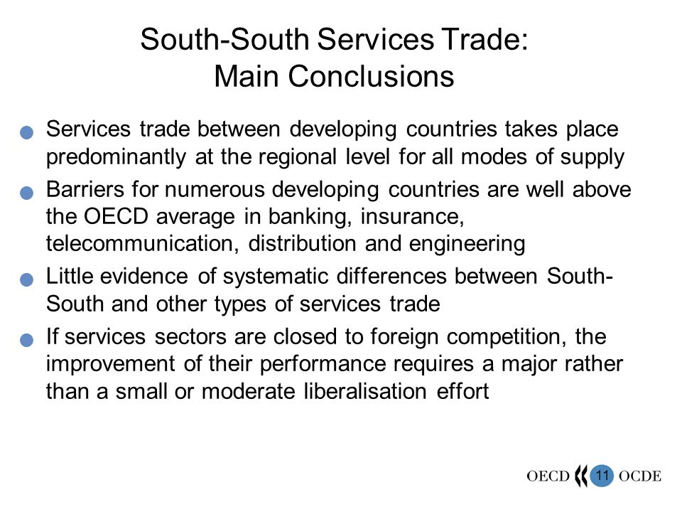 South-South Services Trade: Main Conclusions