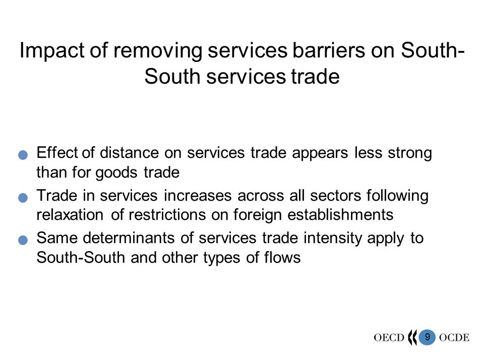 Impact of removing services barriers on South-South services trade