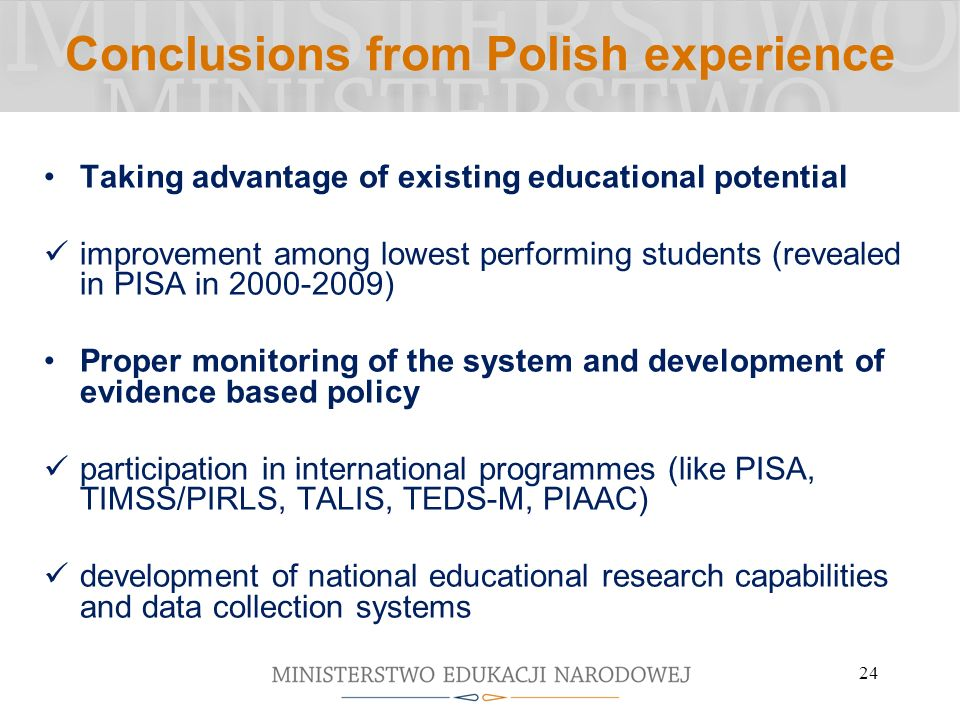 Conclusions from Polish experience