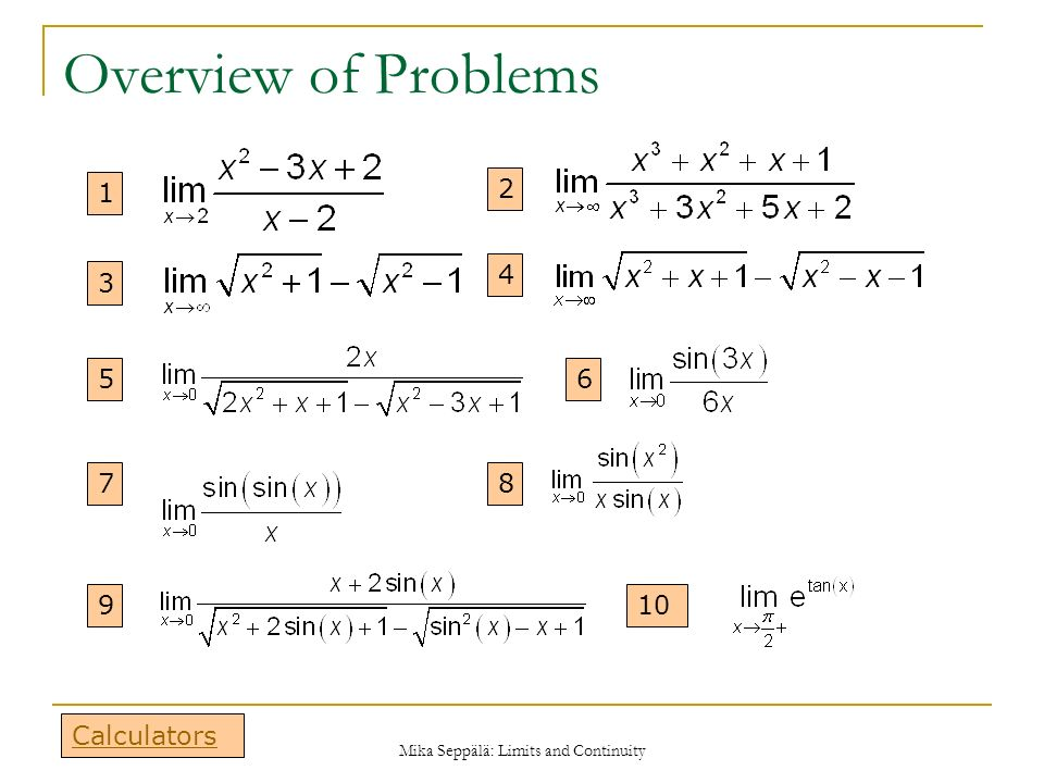 Limits and Continuity - MATH100 Revision Exercises - Resources ...
