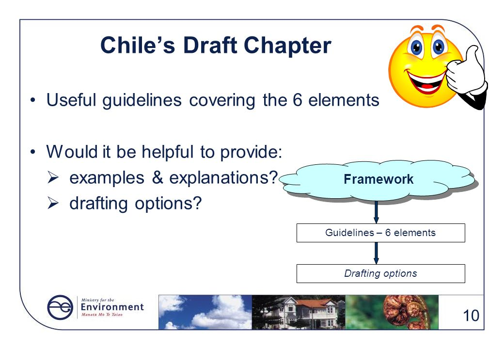 Chile's Draft Chapter Useful guidelines covering the 6 elements