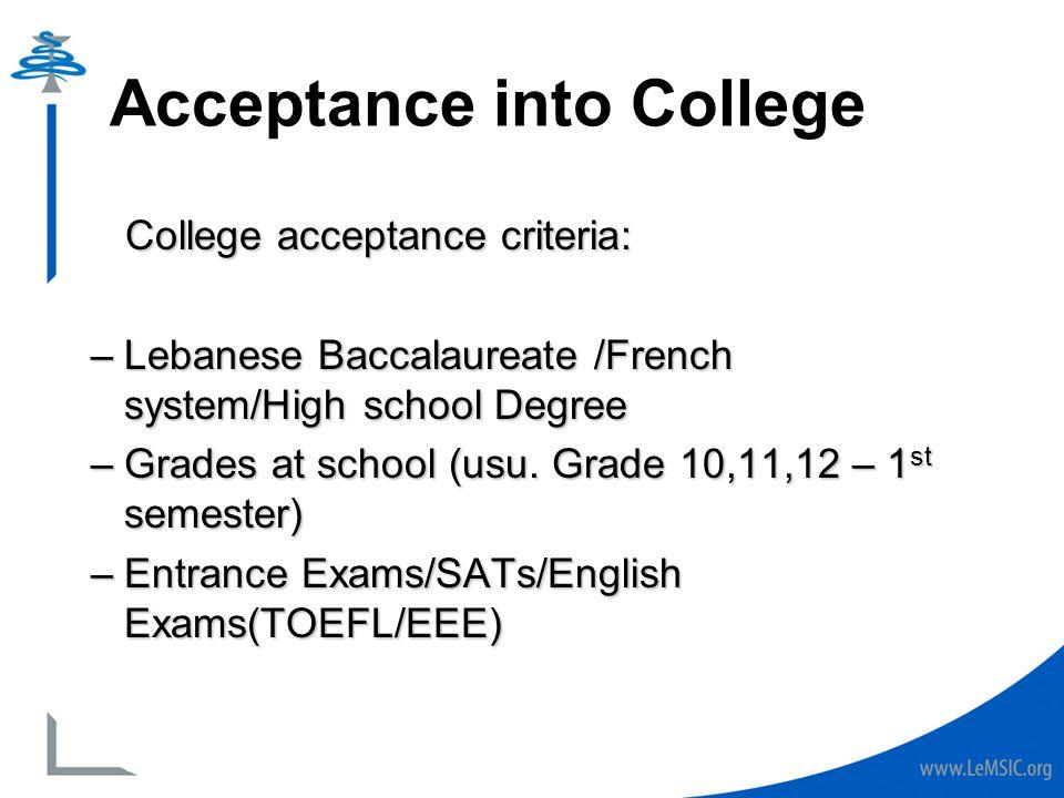 acceptance into college