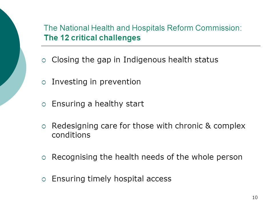 The National Health and Hospitals Reform Commission: The 12 critical challenges