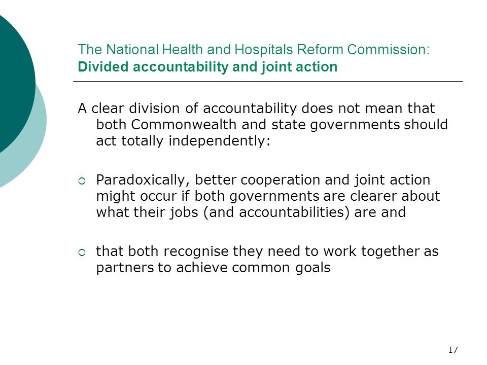 The National Health and Hospitals Reform Commission: Divided accountability and joint action