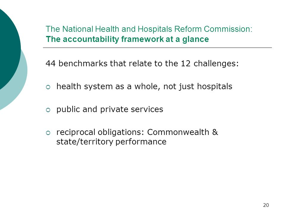 The National Health and Hospitals Reform Commission: The accountability framework at a glance
