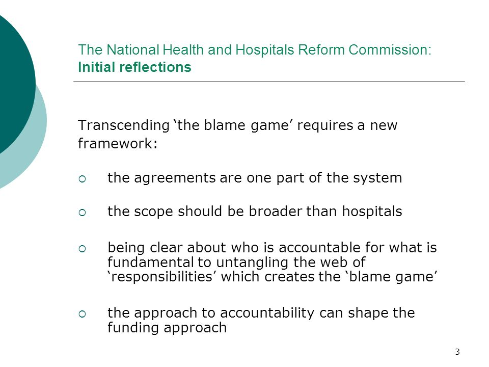 The National Health and Hospitals Reform Commission: Initial reflections