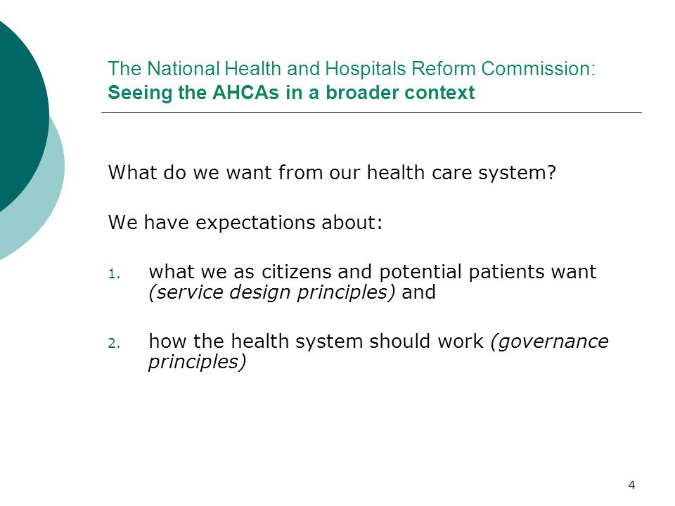 The National Health and Hospitals Reform Commission: Seeing the AHCAs in a broader context