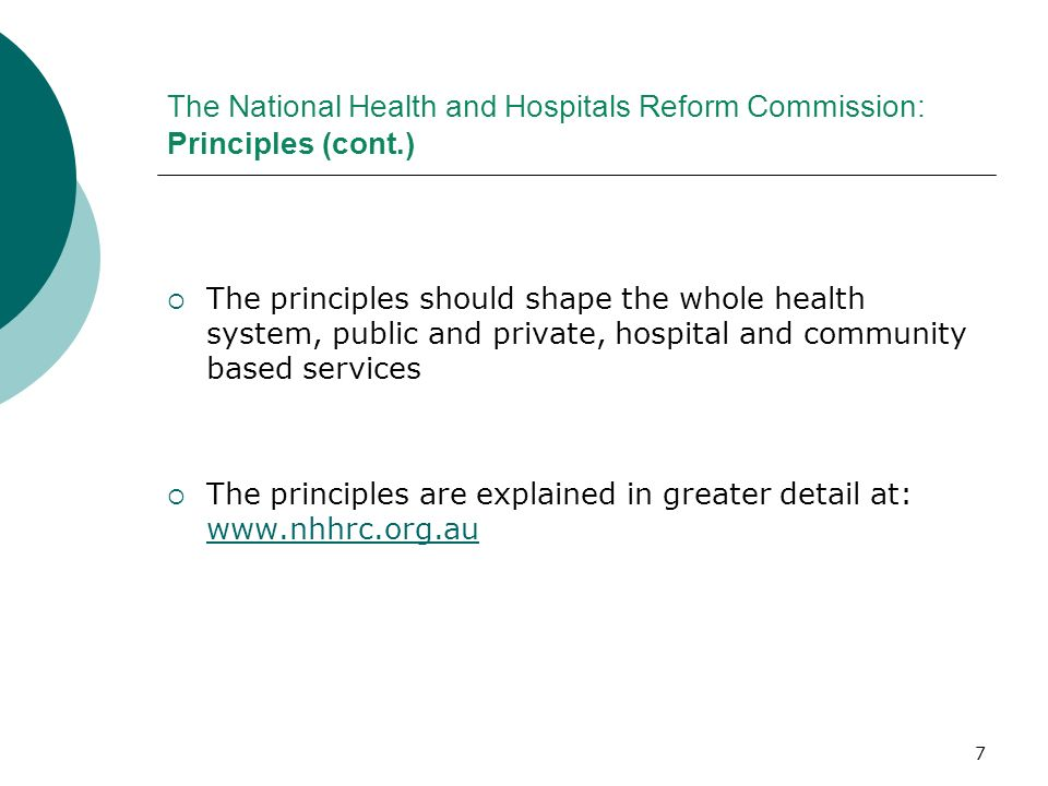 The National Health and Hospitals Reform Commission: Principles (cont
