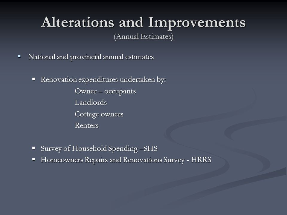 Alterations and Improvements (Annual Estimates)