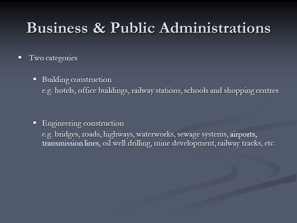 Business & Public Administrations