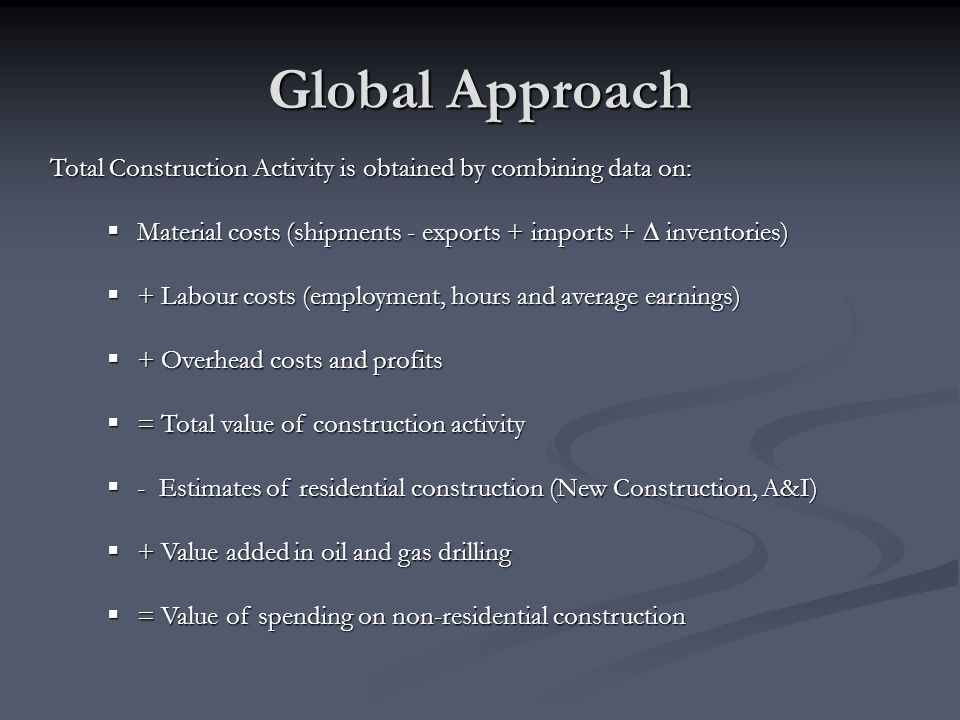Global Approach Total Construction Activity is obtained by combining data on: Material costs (shipments - exports + imports + ∆ inventories)