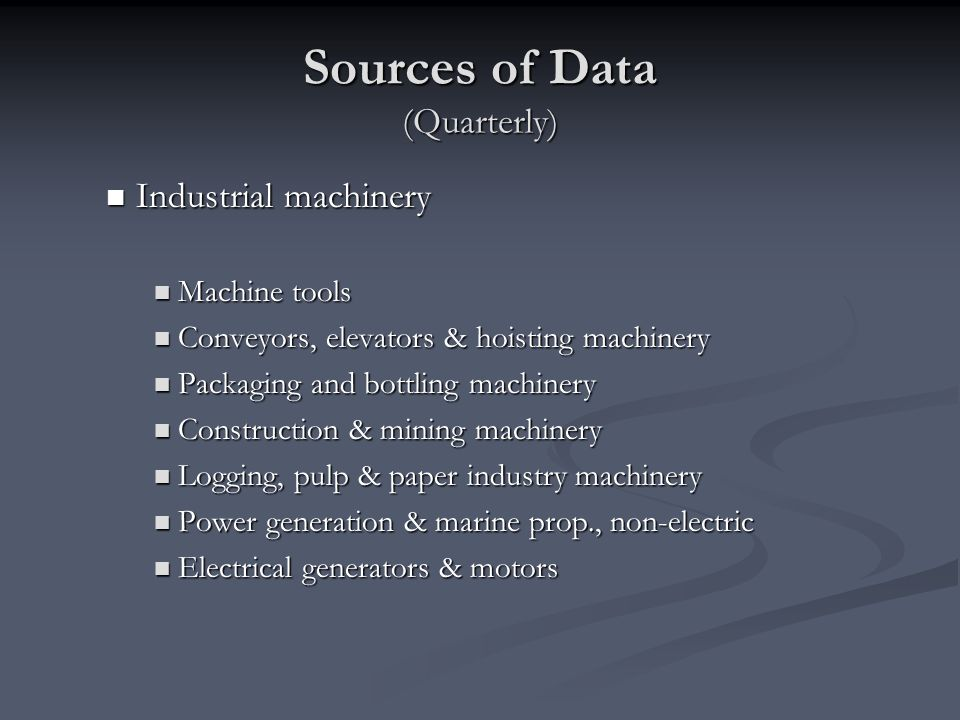 Sources of Data (Quarterly)