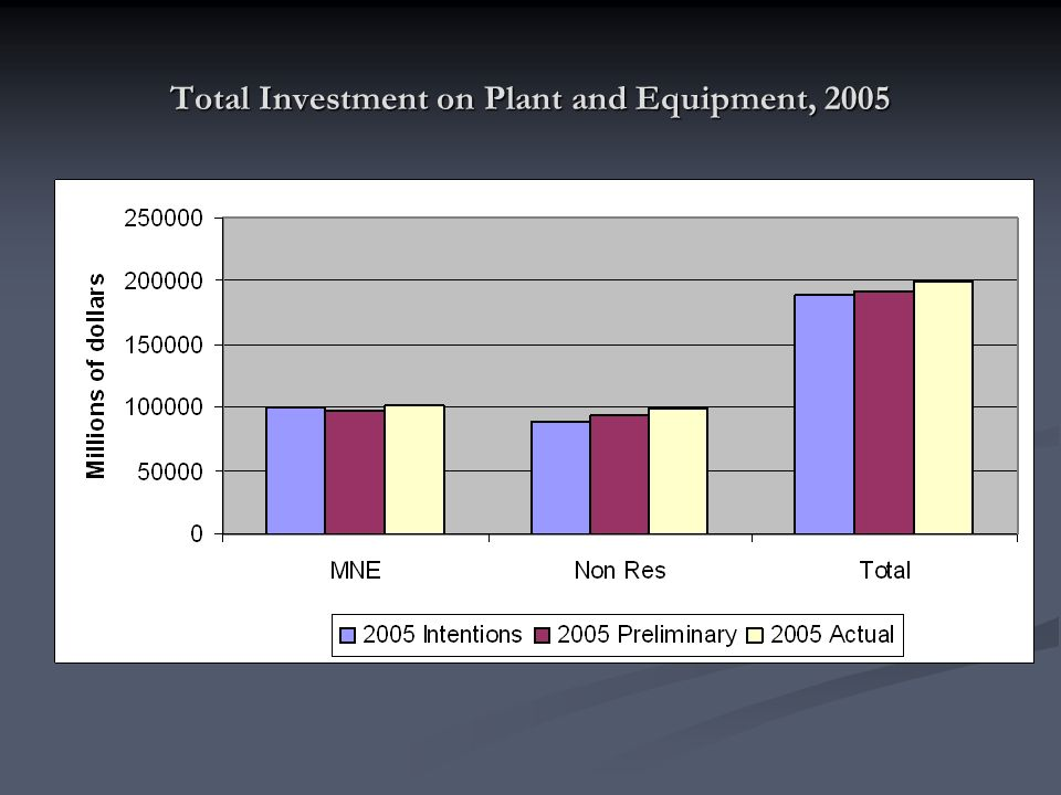 Total Investment on Plant and Equipment, 2005