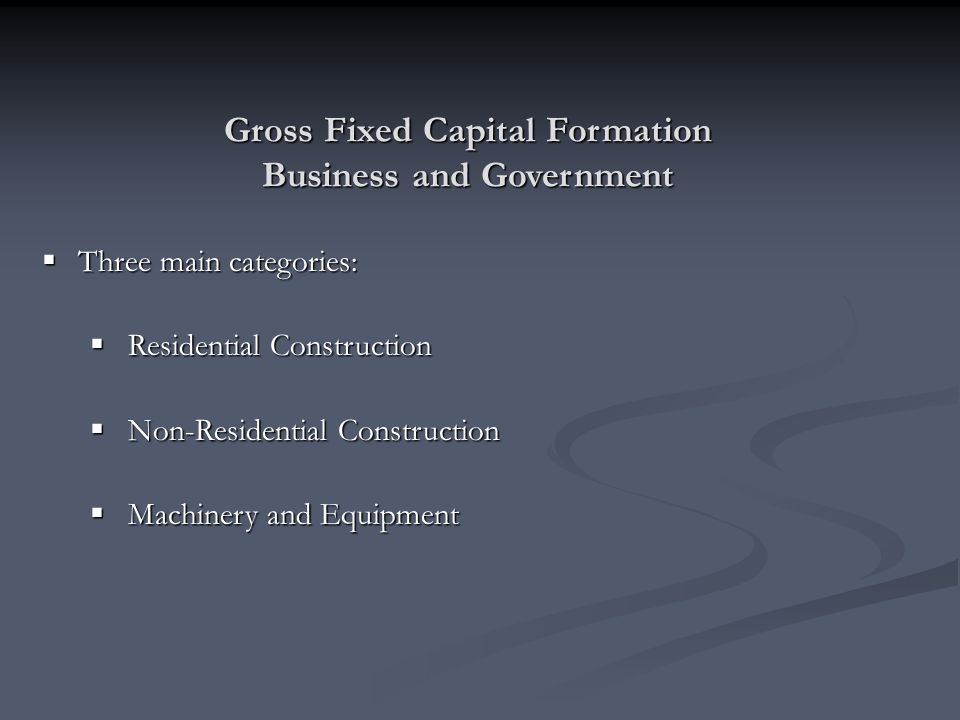 Gross Fixed Capital Formation Business and Government