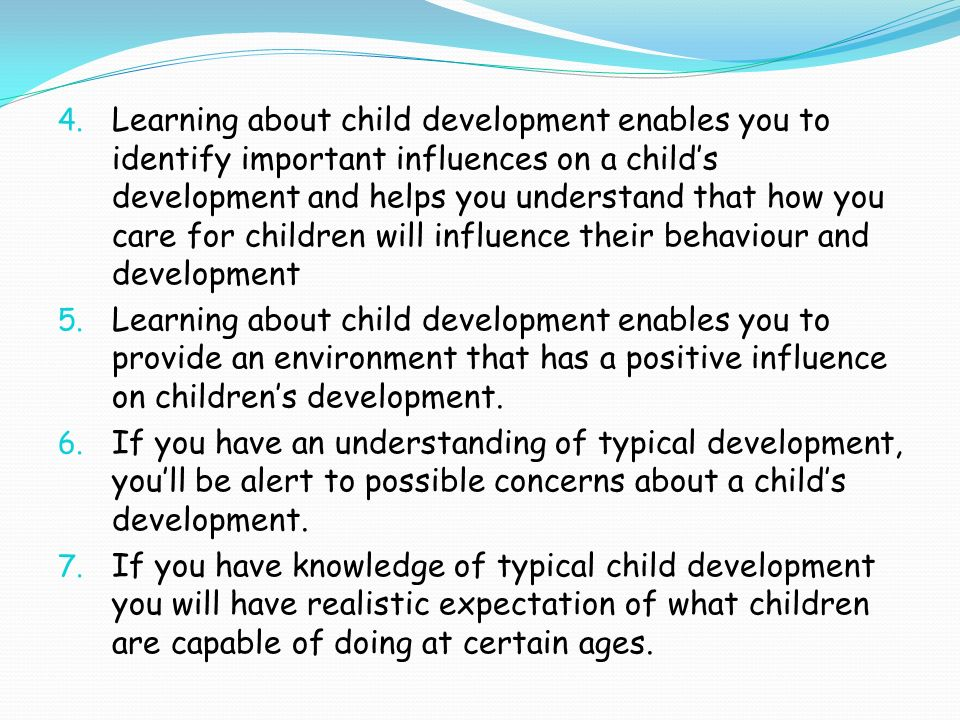 external influences on child development Early child development needs to be a priority issue in policy and practice  to  help professionals assess the factors affecting a child's development, they have.