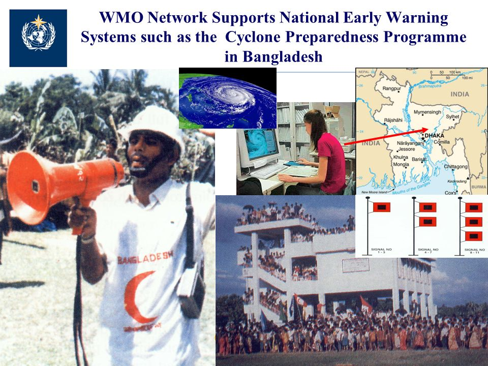 WMO Network Supports National Early Warning Systems such as the Cyclone Preparedness Programme in Bangladesh