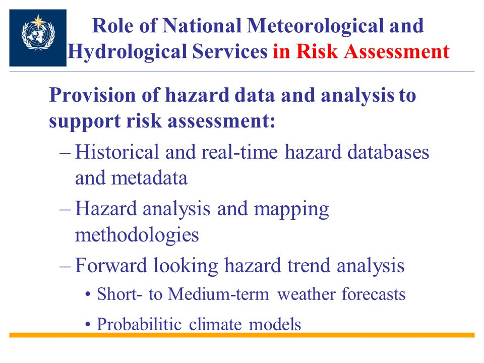 Provision of hazard data and analysis to support risk assessment: