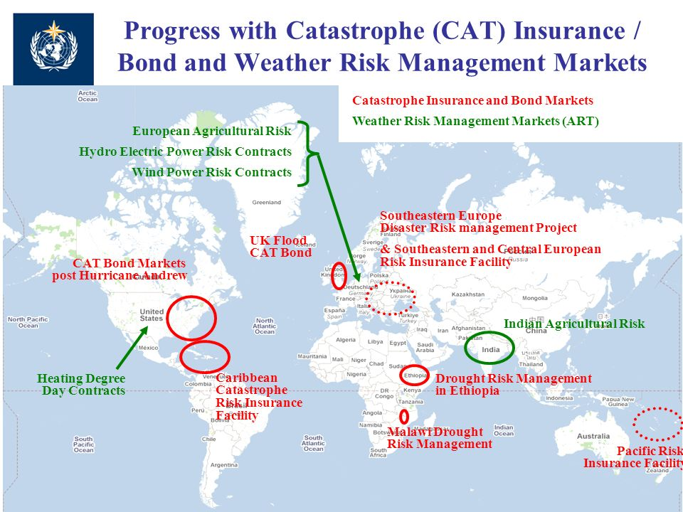 Progress with Catastrophe (CAT) Insurance / Bond and Weather Risk Management Markets