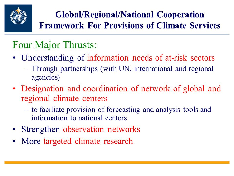 Global/Regional/National Cooperation Framework For Provisions of Climate Services