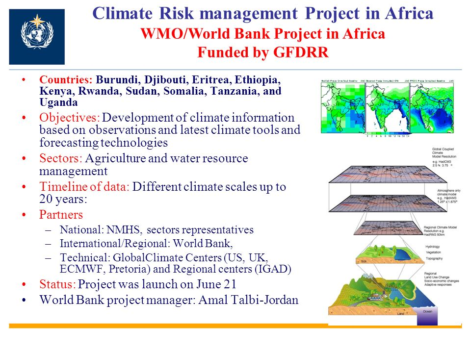 Climate Risk management Project in Africa WMO/World Bank Project in Africa Funded by GFDRR
