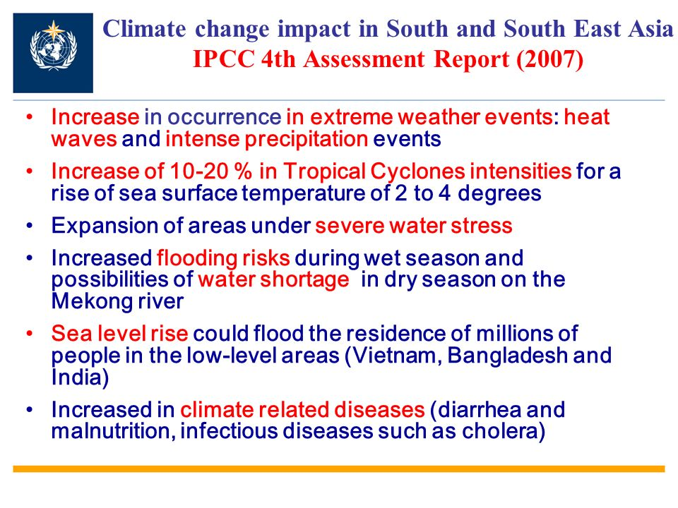 Climate change impact in South and South East Asia IPCC 4th Assessment Report (2007)