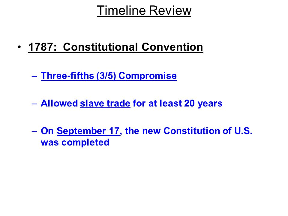 Timeline Review 1787: Constitutional Convention