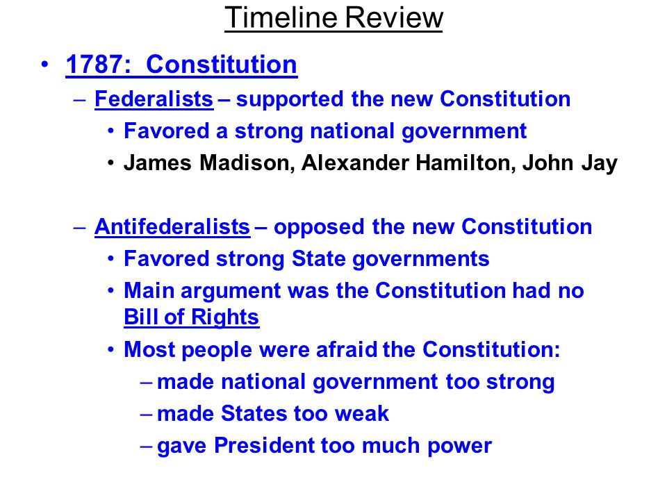 Timeline Review 1787: Constitution