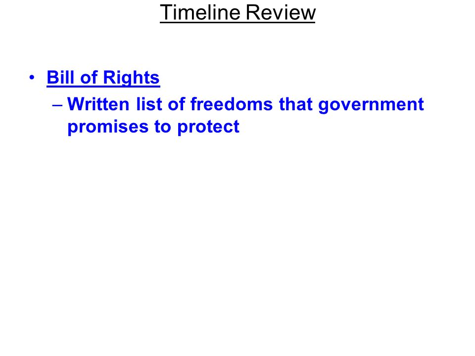 Timeline Review Bill of Rights