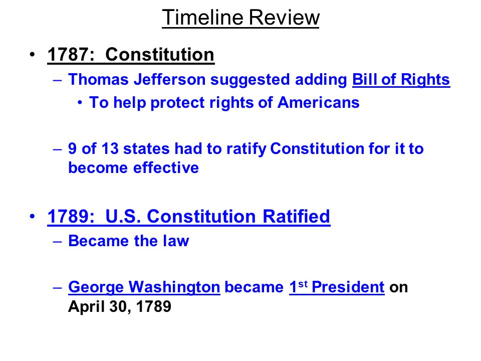 Timeline Review 1787: Constitution 1789: U.S. Constitution Ratified