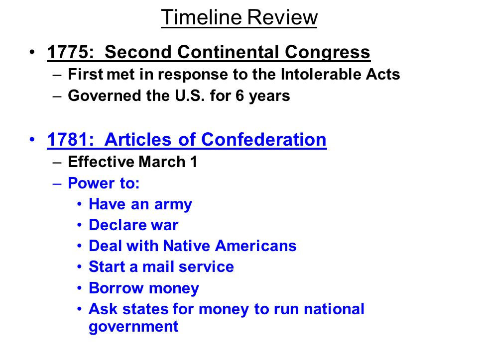 Timeline Review 1775: Second Continental Congress