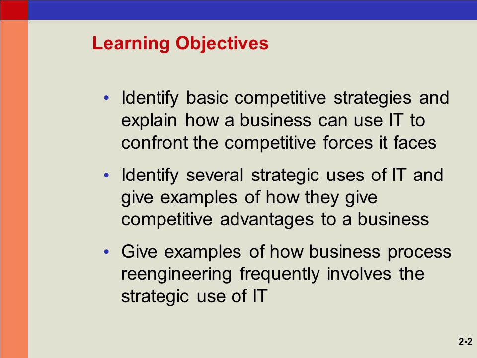 explain the strategies for competitive advantage Discover how to define your competitive strategy as a company or individual by using these seven strategies: cost, differentiation, innovative, operational, technology, adaptability, and information  7 strategies to define your competitive advantage  for more information on how to help yourself or your business take the competitive.