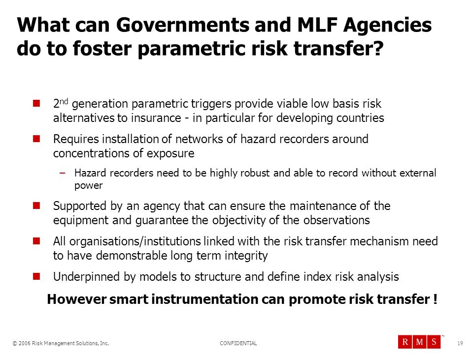 What can Governments and MLF Agencies do to foster parametric risk transfer