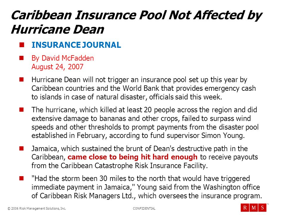 Caribbean Insurance Pool Not Affected by Hurricane Dean