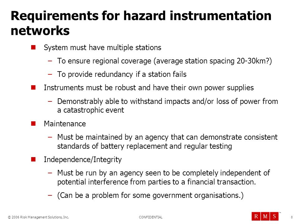 Requirements for hazard instrumentation networks
