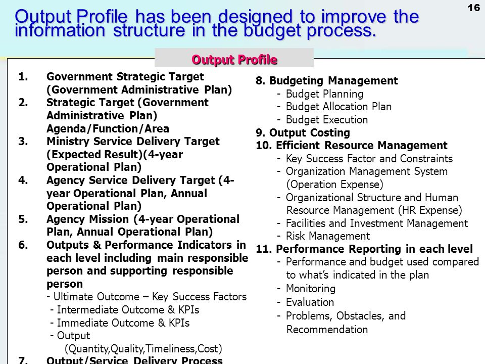 Output Profile has been designed to improve the information structure in the budget process.