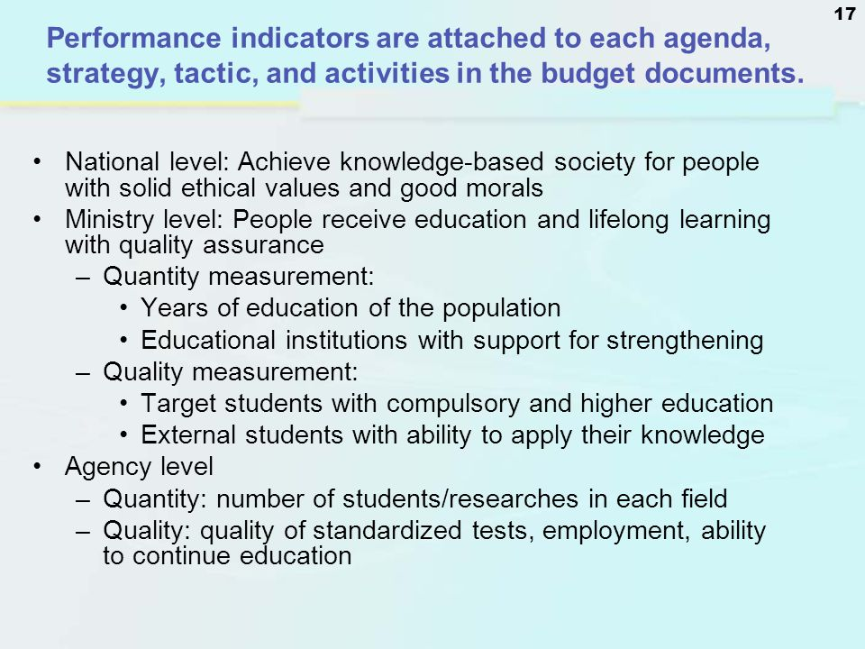 Performance indicators are attached to each agenda, strategy, tactic, and activities in the budget documents.
