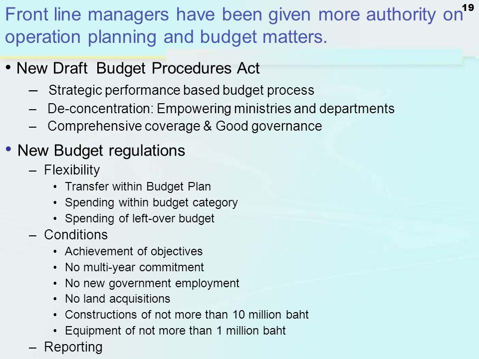 New Budget regulations