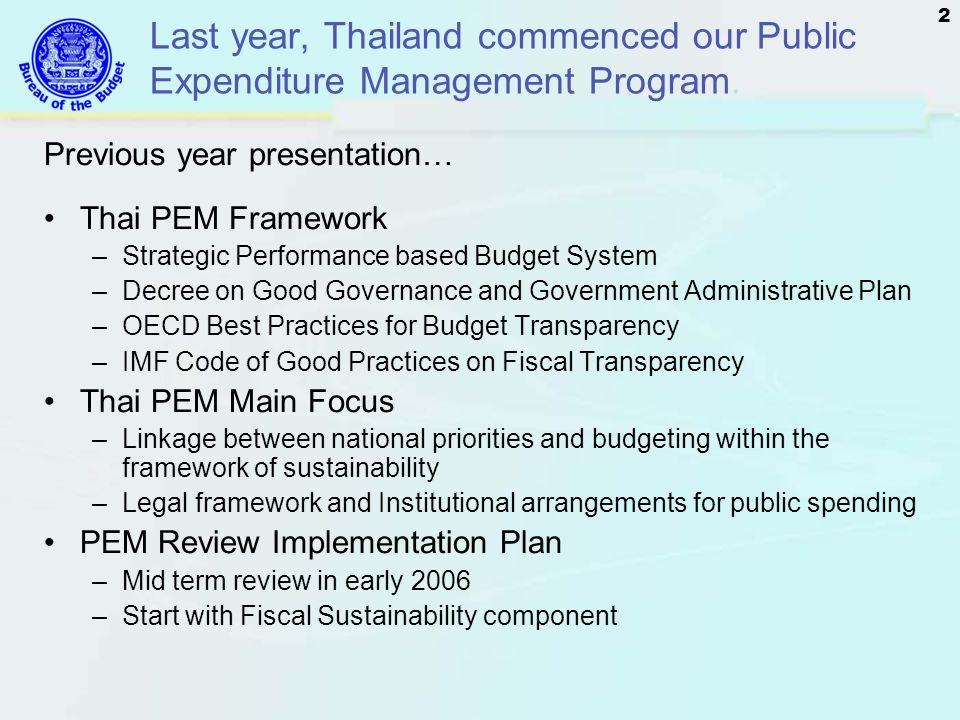 Last year, Thailand commenced our Public Expenditure Management Program.