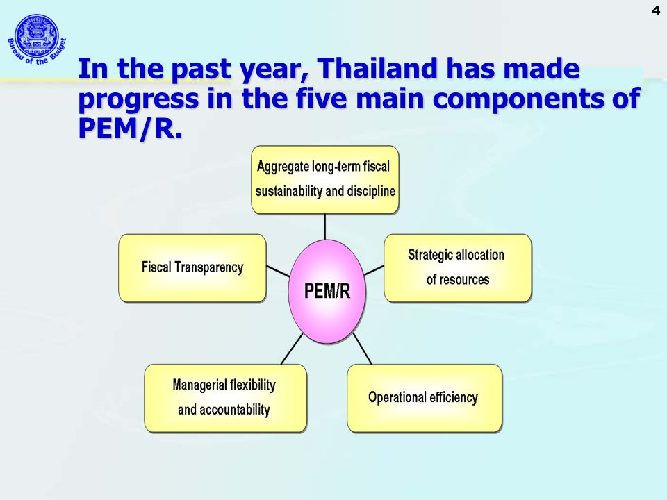 In the past year, Thailand has made progress in the five main components of PEM/R.