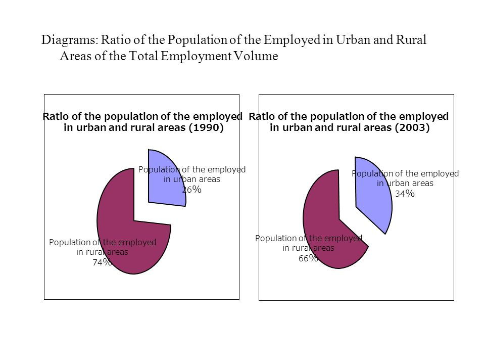 Diagrams: Ratio of the Population of the Employed in Urban and Rural Areas of the Total Employment Volume