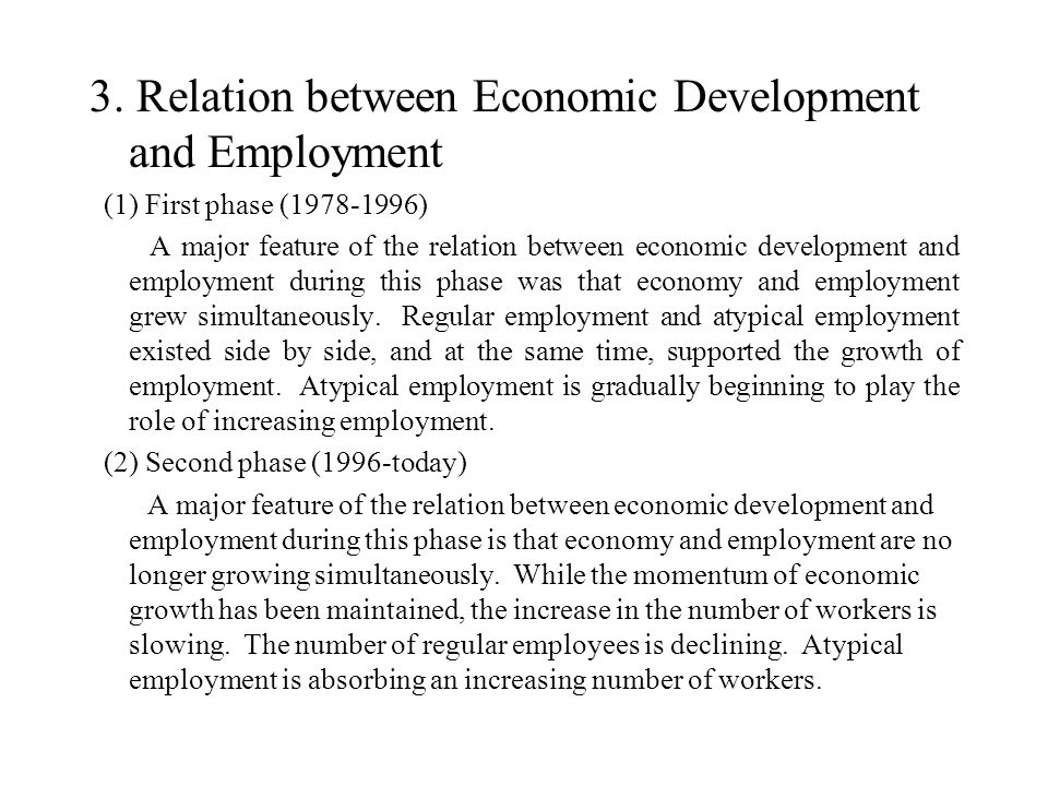 3. Relation between Economic Development and Employment