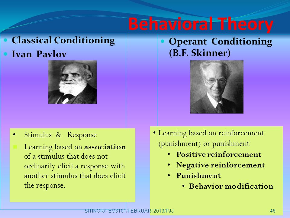 reinforcement role in operant and classical Treatments based on classical or operant conditioning have been effective in treating some disorders for example, systematic desensitisation can be used to treat phobias (wolpe, 1958) behaviourism played a key role in making psychology more scientific.