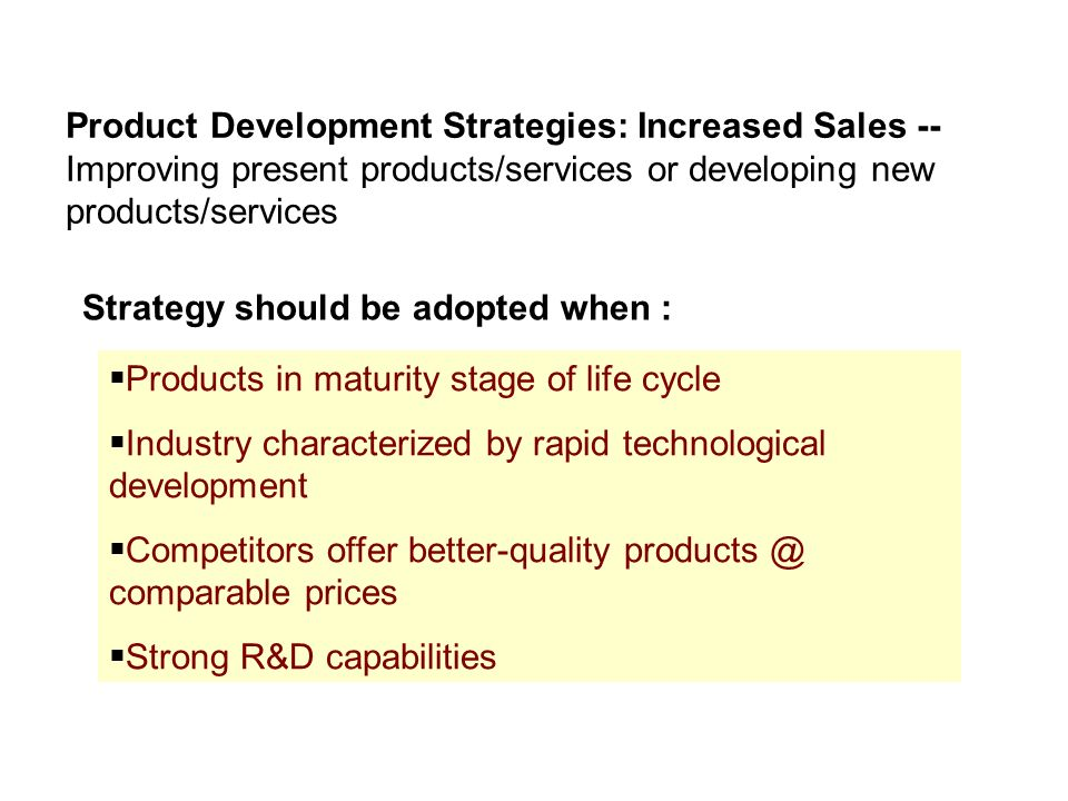Alternative strategies ppt video online download for Product development services