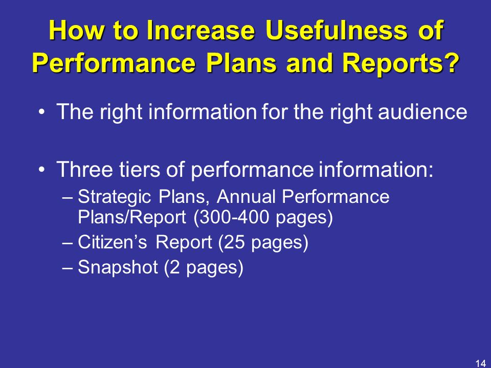 How to Increase Usefulness of Performance Plans and Reports
