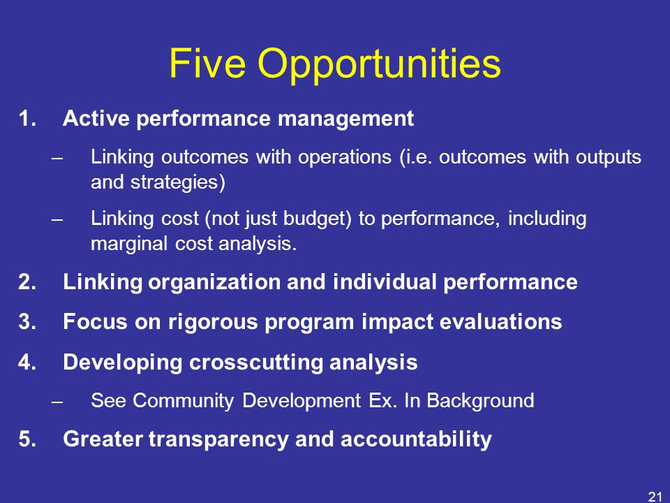 Five Opportunities Active performance management