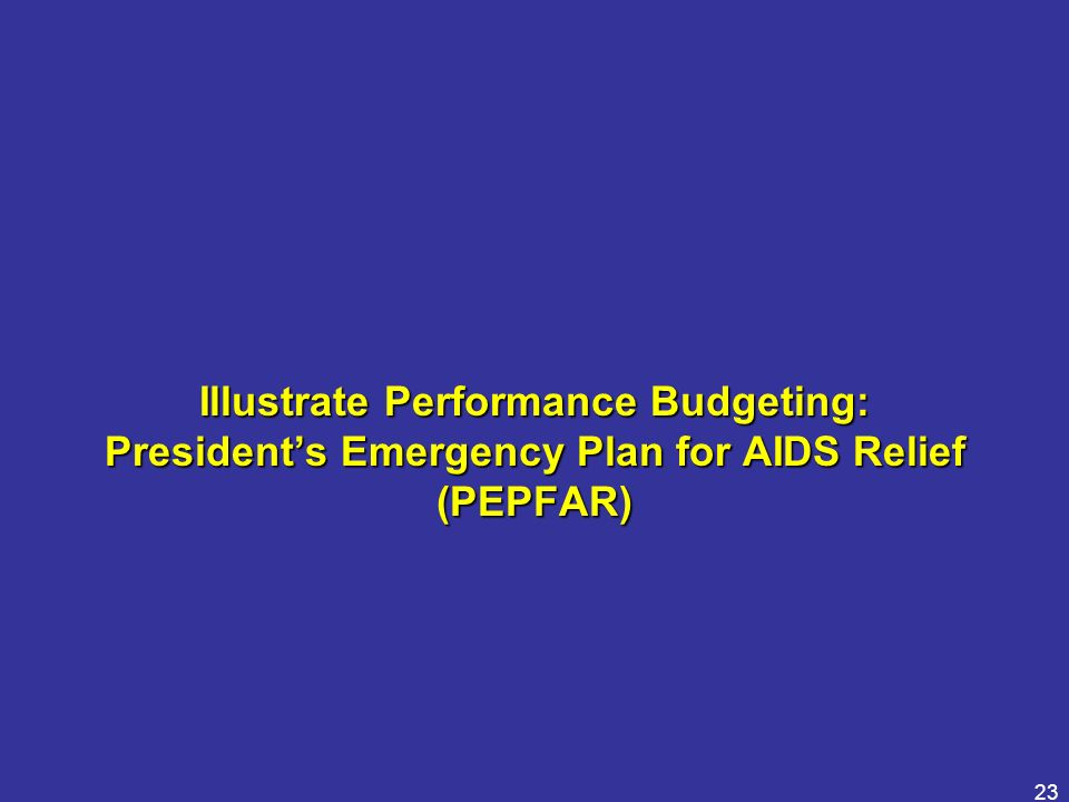 Illustrate Performance Budgeting: President's Emergency Plan for AIDS Relief (PEPFAR)