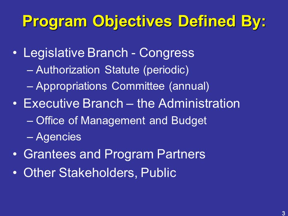 Program Objectives Defined By: