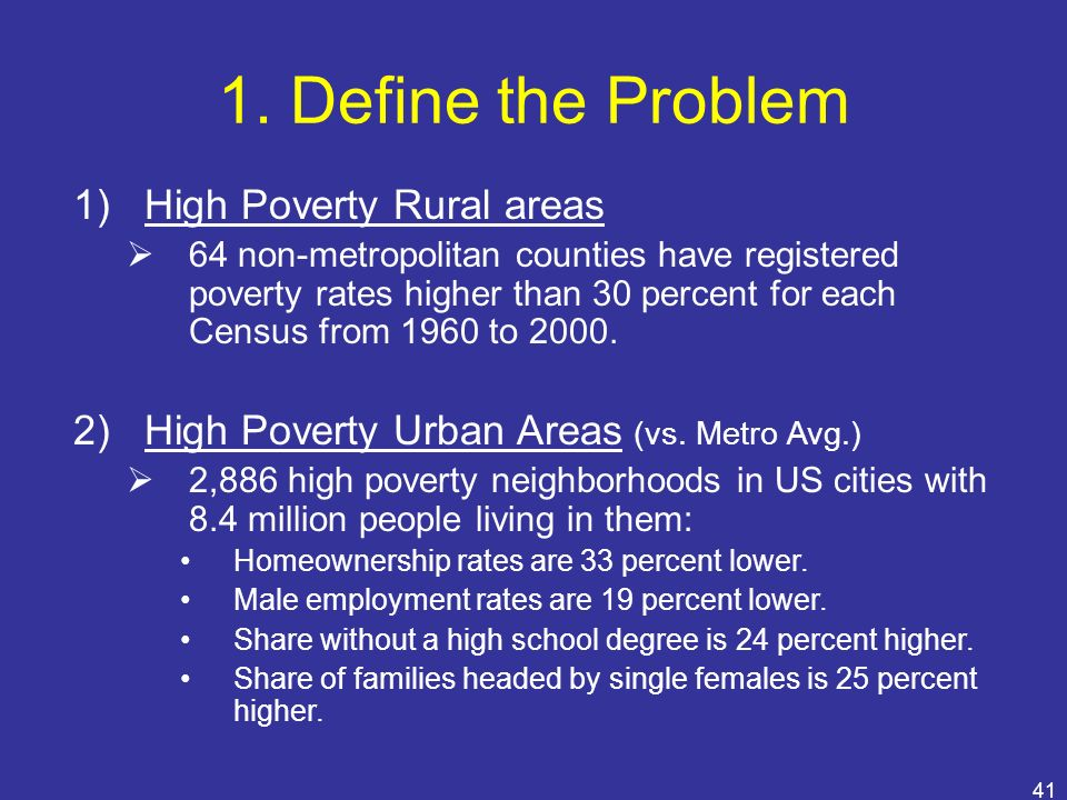 1. Define the Problem High Poverty Rural areas