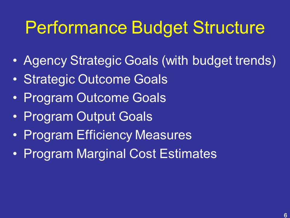 Performance Budget Structure