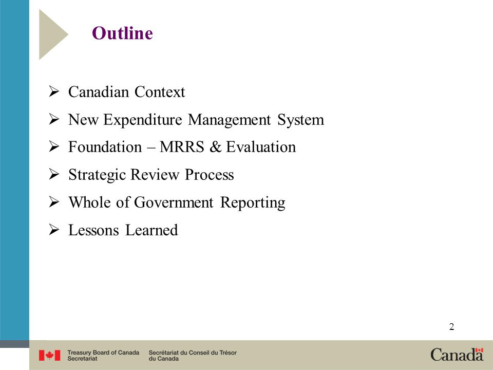 Outline Canadian Context New Expenditure Management System